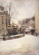 Edouard Castres Snowed up Street in Paris (nn02) oil painting picture wholesale