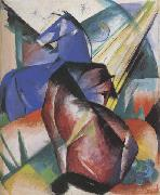Franz Marc Two Horses,Red and Blue (mk34) oil painting picture wholesale