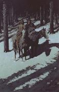 Frederic Remington Indian Scouts in the Moonlight (mk43) oil painting picture wholesale
