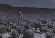 Frederic Remington The Wolves Sniffed Along the Trail (mk43) oil painting picture wholesale