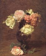 Henri Fantin-Latour White and Pink Roses (nn03) oil painting picture wholesale