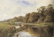Henry h.parker Cattle watering on a Riverbank (mk37) oil painting picture wholesale
