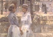 Isaac Israels Amsterdam Serving Girls on the Gracht (nn02) oil painting picture wholesale