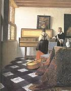 Jan Vermeer A Lady at the Virginals with a Gentleman (mk25) oil painting picture wholesale