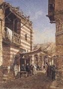 John varley jnr THe School near the Babies-Sharouri,Cairo (mk37) oil painting artist