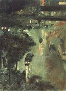 Lesser Ury Nollendorf Square at Night (nn02) oil painting