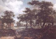 Meindert Hobbema Wooded Landscape with Travellers (mk25) oil painting picture wholesale