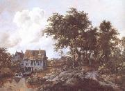 Meindert Hobbema Watermill beside a Woody Lane (mk25) oil painting picture wholesale