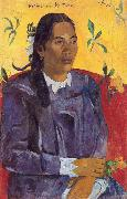 Paul Gauguin Woman with a Flower (nn03) oil painting picture wholesale