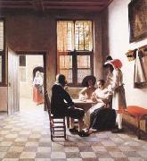 Pieter de Hooch Cardplayers in a Sunlit Room (mk25 oil