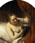 REMBRANDT Harmenszoon van Rijn A young Woman in Bed 9mk33) oil painting picture wholesale
