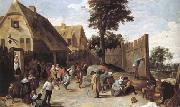 TENIERS, David the Younger Peasants dancing outside an Inn (mk25) oil painting picture wholesale