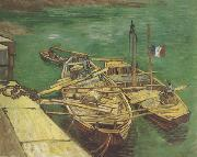 Vincent Van Gogh Quay with Men Unloading Sand Barges (nn04) oil painting reproduction