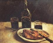 Vincent Van Gogh Still life with a Bottle,Two Glasses Cheese and Bread (nn04) oil painting picture wholesale