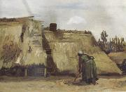 Vincent Van Gogh Cottage with Woman Digging (nn04) oil painting picture wholesale
