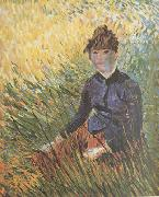 Vincent Van Gogh Woman sitting in the Grass (nn04) oil painting picture wholesale