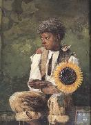 Winslow Homer Taking Sunflower to Teacher (mk44) oil painting reproduction