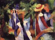 August Macke Girls Amongst Trees oil