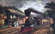 Fanny Palmer The Lightning Express Trains Leaving the junction oil