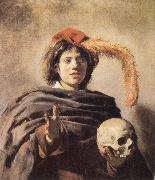Frans Hals Young man with a skull oil painting artist