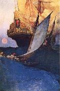 Howard Pyle An Attack on a Galleon oil painting artist