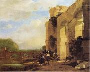 Jan Asselijn Italian Landscape with the Ruins of a Roman Bridge and Aqueduct oil painting artist