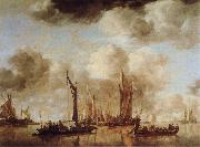 Jan van de Capelle Shipping Scene with a Dutch Yacht Firing a Salure oil painting picture wholesale