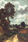 John Constable A country lane,with a church in the distance oil painting picture wholesale