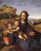 YANEZ DE LA ALMEDINA, Fernando Madonna and Child with Infant St.Fohn oil painting artist