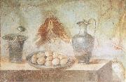 unknow artist Still life wall Painting from the House of Julia Felix Pompeii thrusches eggs and domestic utensils oil painting picture wholesale