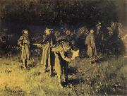 unknow artist Federal troops reading a message at fireside oil painting picture wholesale
