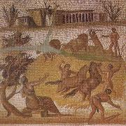unknow artist Mosaic from the Roman villa at Zliten in Tripolitania showing horses and cattle threshing corn oil painting picture wholesale