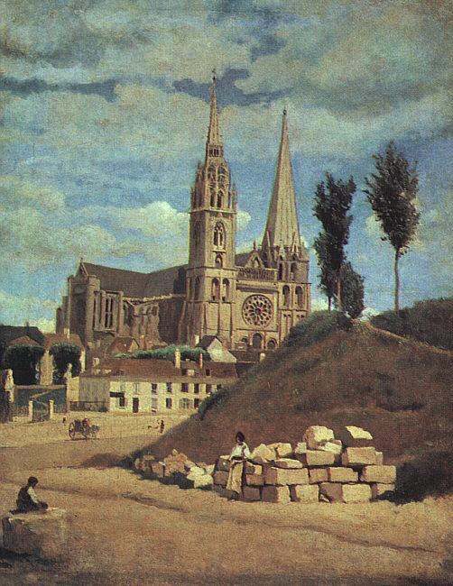 Jean Baptiste Camille  Corot Chartres Cathedral oil painting image