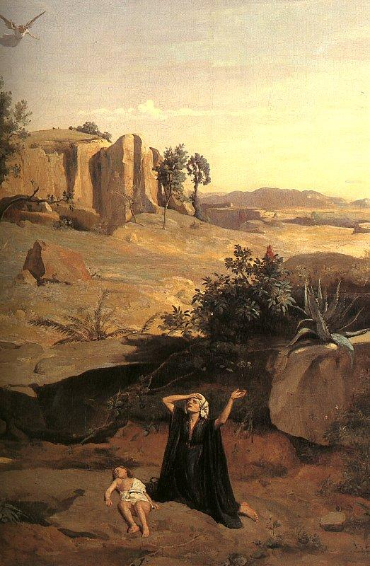 Jean Baptiste Camille  Corot Hagar in the Wilderness oil painting image