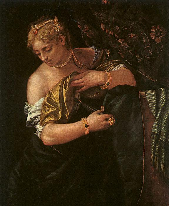 Paolo  Veronese Lucretia Stabbing Herself oil painting image