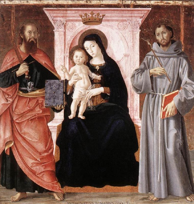ANTONIAZZO ROMANO Madonna Enthroned with the Infant Christ and Saints jj oil painting image