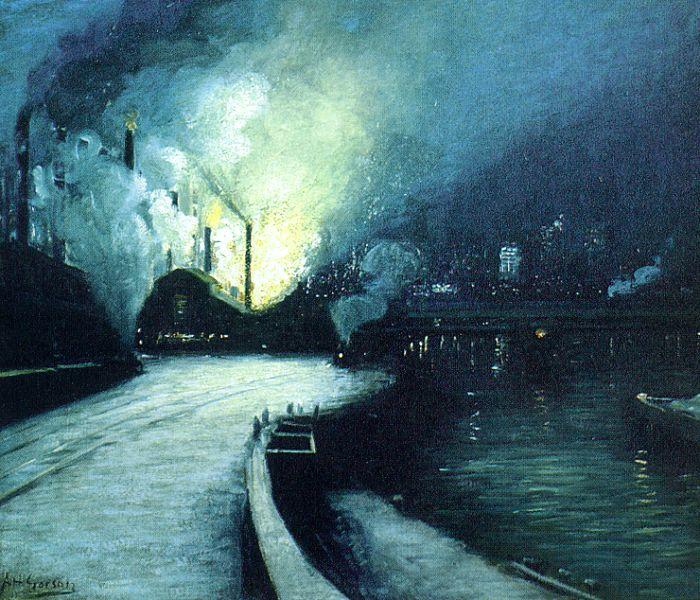 Aaron Harry Gorson Industrial Scene, Pittsburgh Germany oil painting art