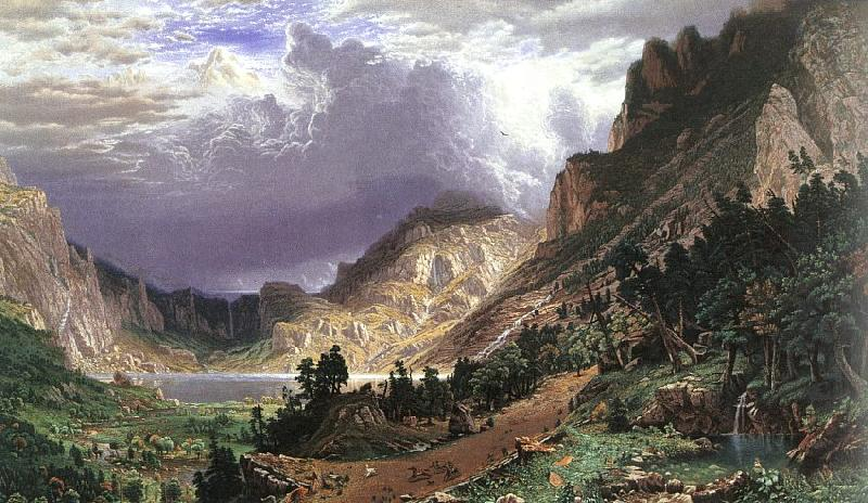 Albert Bierstadt Storm in the Rocky Mountains, Mt Rosalie oil painting image