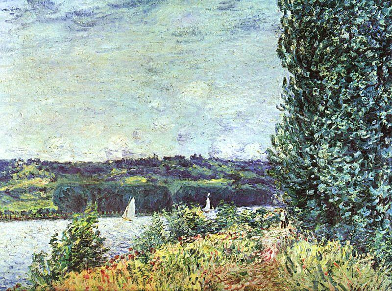 Alfred Sisley The Banks of the Seine : Wind Blowing Germany oil painting art