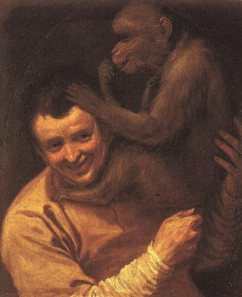 Annibale Carracci A Man with a Monkey oil painting image