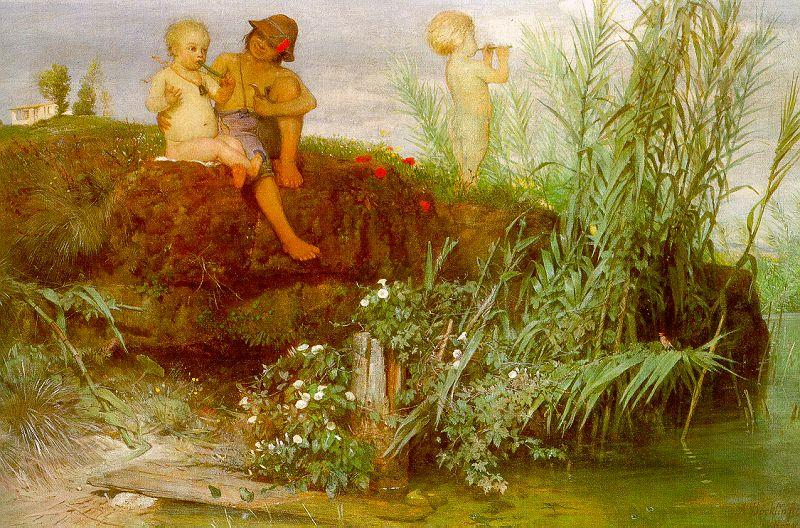 Arnold Bocklin Children Carving May Flutes oil painting image