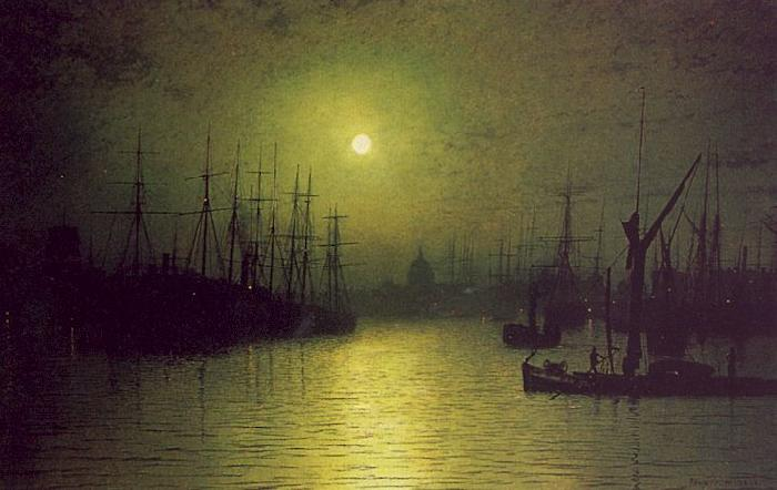 Atkinson Grimshaw Nightfall Down the Thames oil painting image