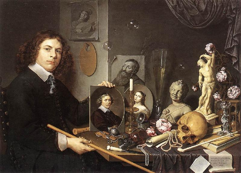 BAILLY, David Self-Portrait with Vanitas Symbols dddw oil painting image