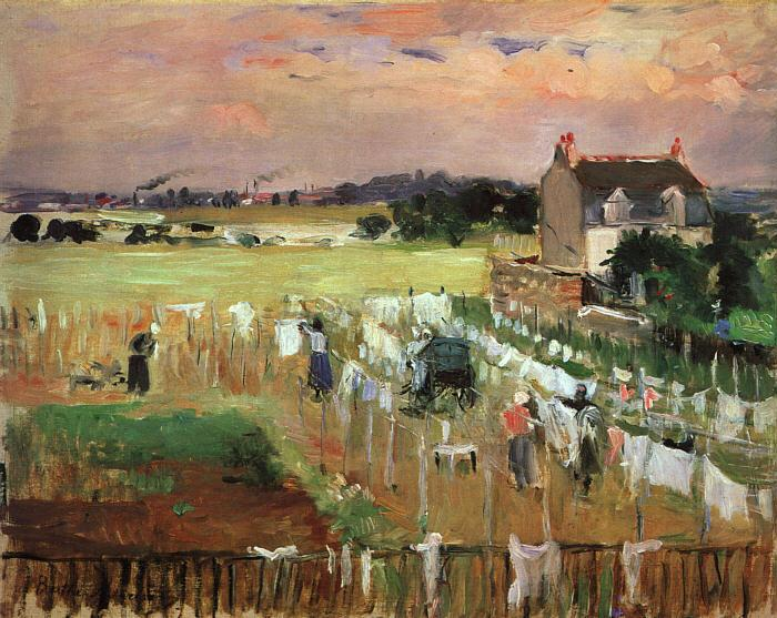 Berthe Morisot Hanging Out the Laundry to Dry oil painting image