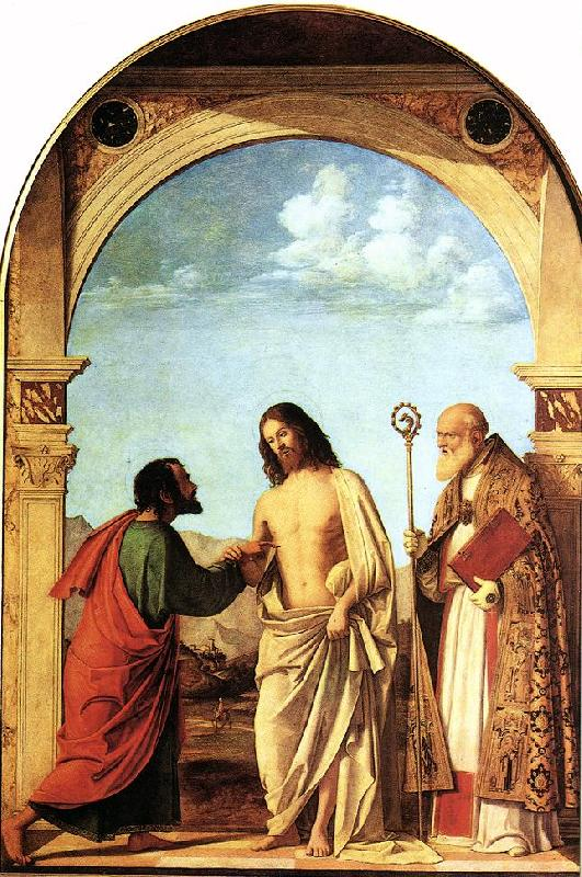 CIMA da Conegliano The Incredulity of St. Thomas with St. Magno Vescovo fg oil painting image
