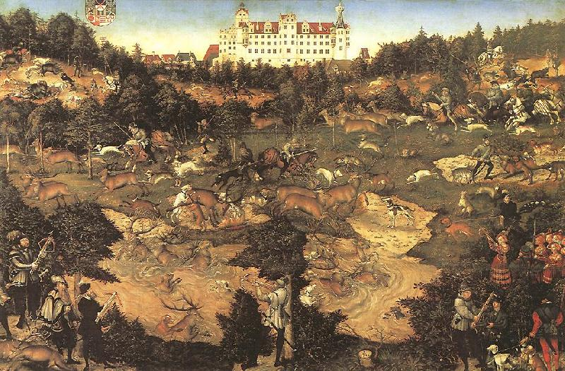 CRANACH, Lucas the Elder Hunt in Honour of Charles V at the Castle of Torgau ghj oil painting image