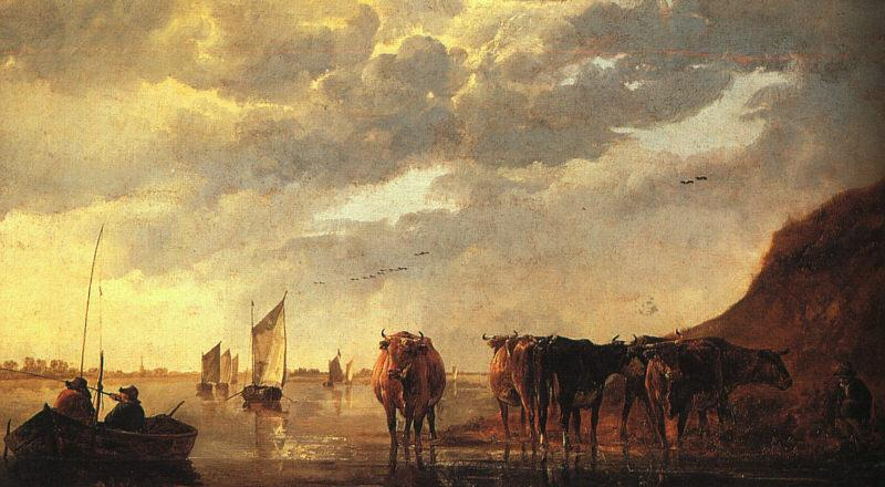 CUYP, Aelbert Herdsman with Cows by a River dfg oil painting image