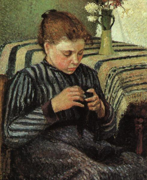 Camille Pissaro Girl Sewing Germany oil painting art