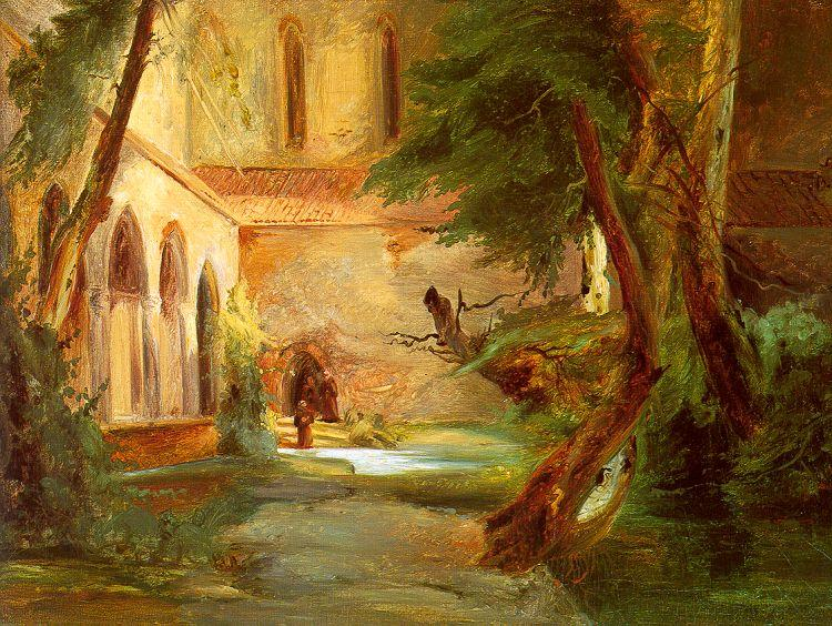 Charles Blechen Monastery in the Wood oil painting image