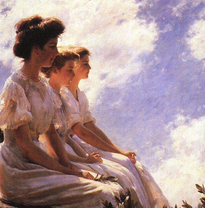 Charles Courtney Curran On the Heights Germany oil painting art